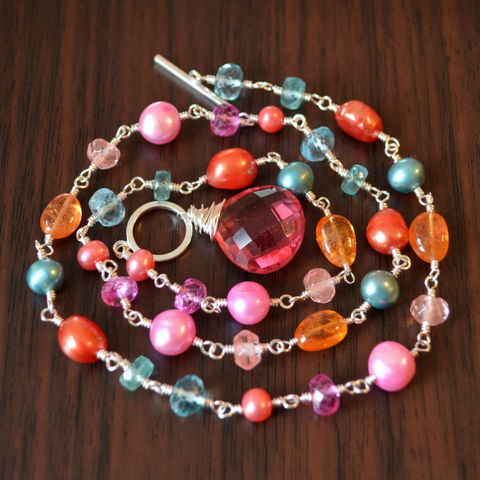Orange,Pink,and,Teal,Toggle,Necklace,in,Sterling,Silver,coral pink necklace, orange necklace, pearl necklace, pearl jewelry, gemstone necklace, toggle necklace