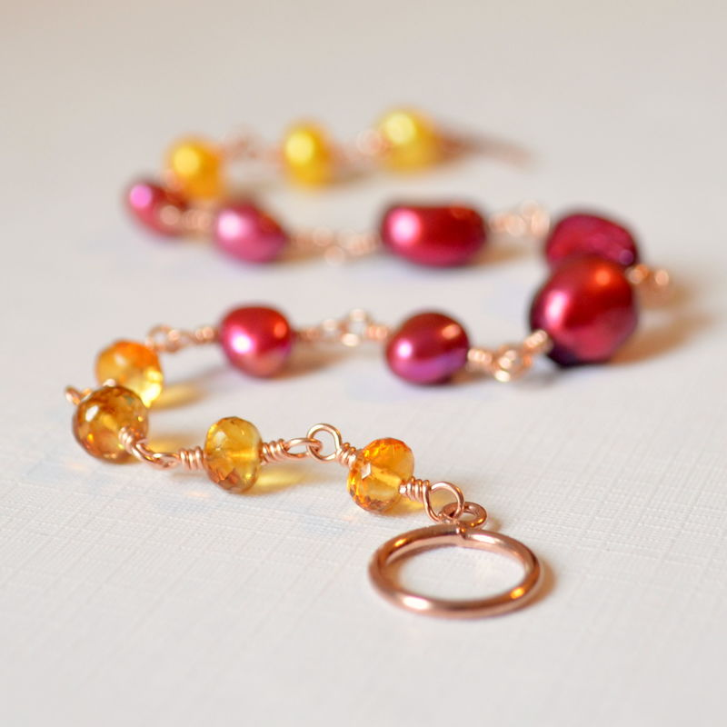Pearl Bracelet with Citrine in Rose Gold - product images  of