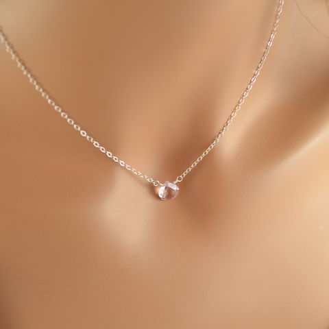 Simple,Morganite,Quartz,Choker,in,Sterling,Silver,morganite quartz, morganite necklace, morganite jewelry, sterling silver, silver choker