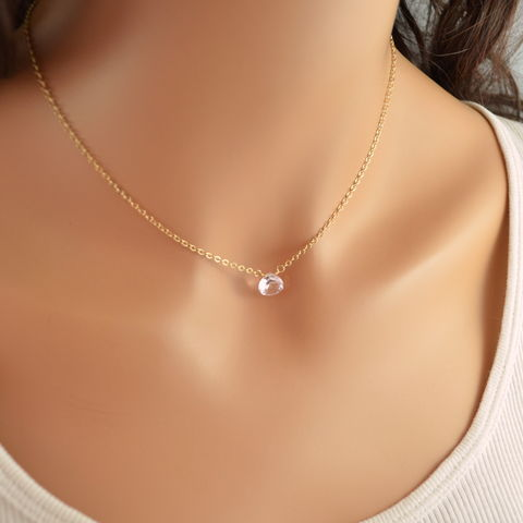 Simple,Morganite,Quartz,Choker,in,Gold,morganite quartz, morganite necklace, morganite jewelry, gold, gold choker