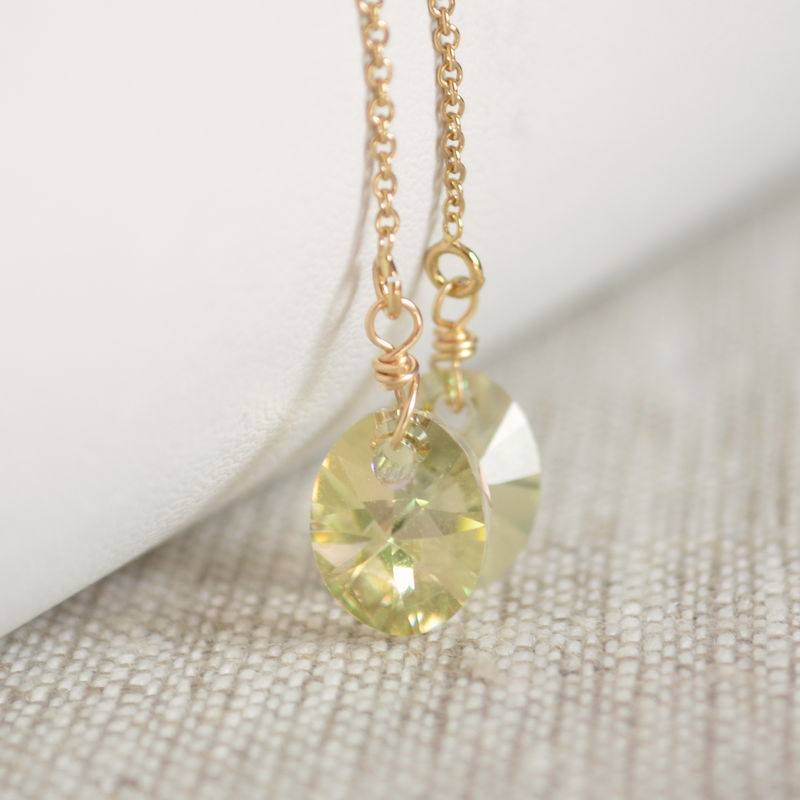 Pale Green Crystal Threader Earrings in Gold - product images  of