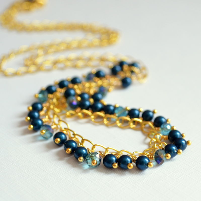 Teal Pearl Necklace with Crystals in Gold - product images  of