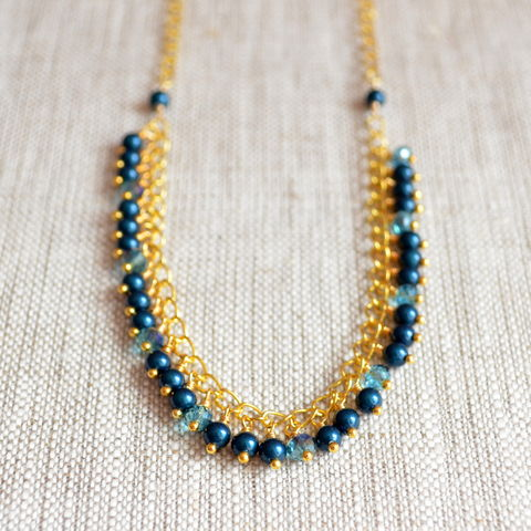 Teal,Pearl,Necklace,with,Crystals,in,Gold,teal necklace, teal jewelry, gold plated, pearl necklace, pearl jewelry