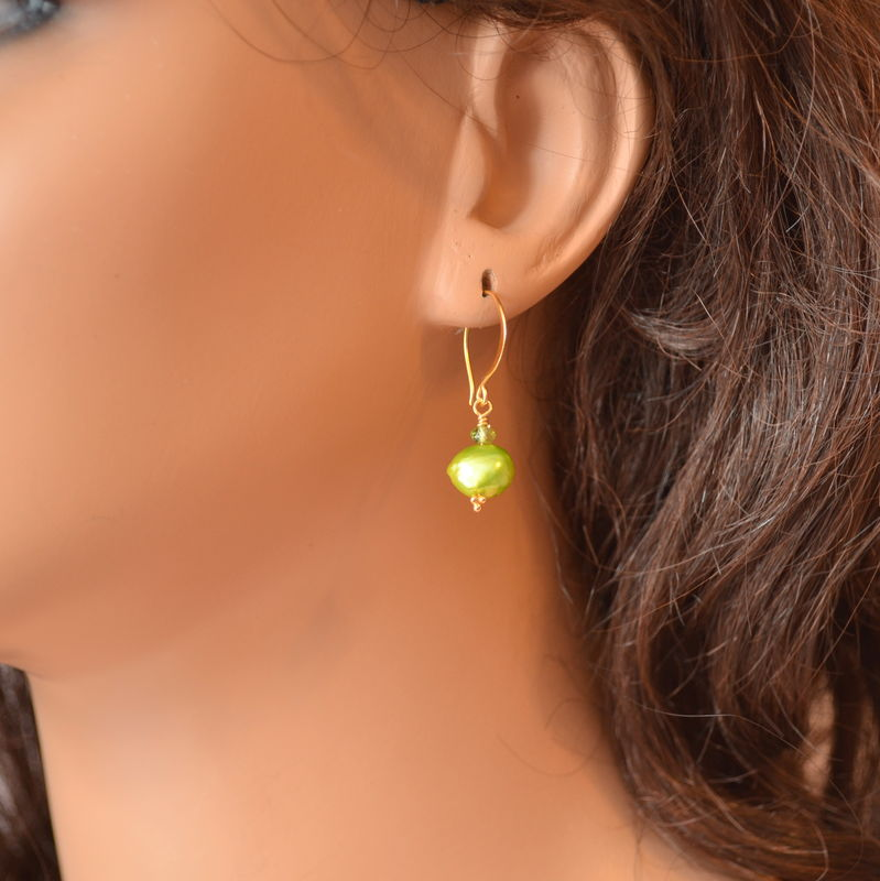 Bright Green Earrings with Pearl and Peridot in Gold - product images  of