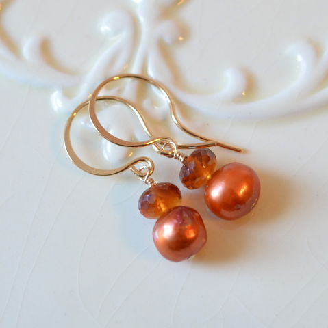 Burnt,Orange,Earrings,with,Hessonite,Garnet,and,Pearl,in,Gold,hessonite earrings, garnet earrings, burnt orange, pearl earrings, pearl jewelry