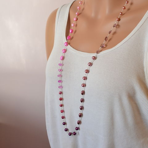 Long,Plum,Pink,and,Peach,Necklace,in,Sterling,Silver,pearl necklace, pink topaz necklace, plum necklace, long necklace