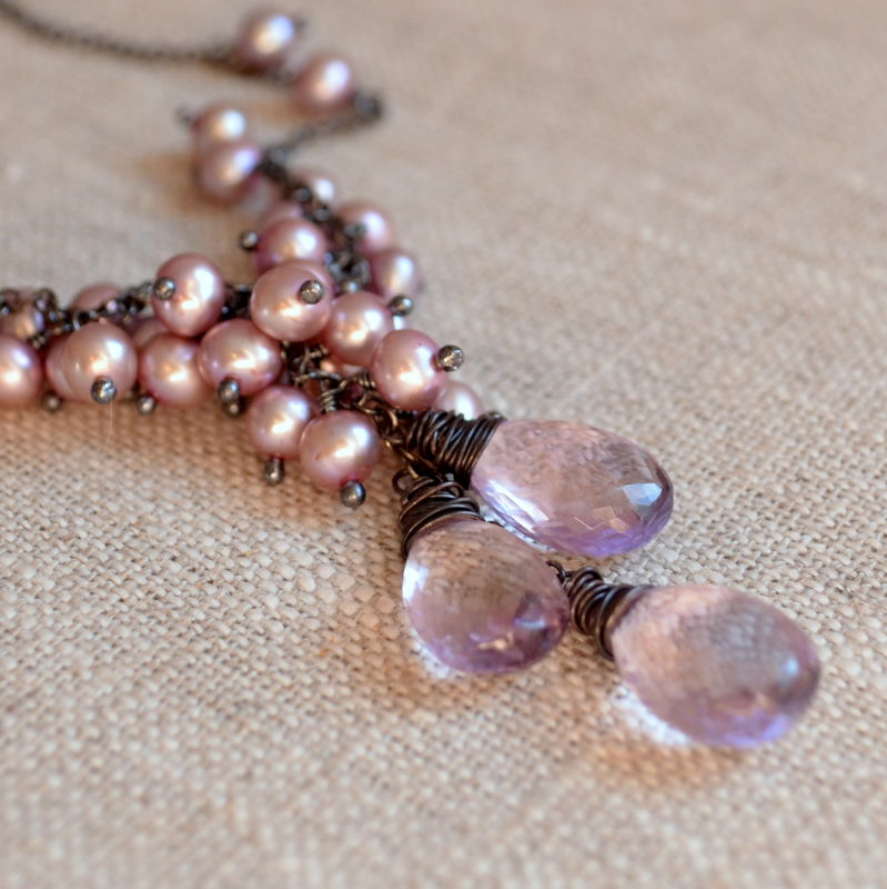 Pearl Cluster Necklace with Pink Amethyst in Oxidized Silver - product images  of
