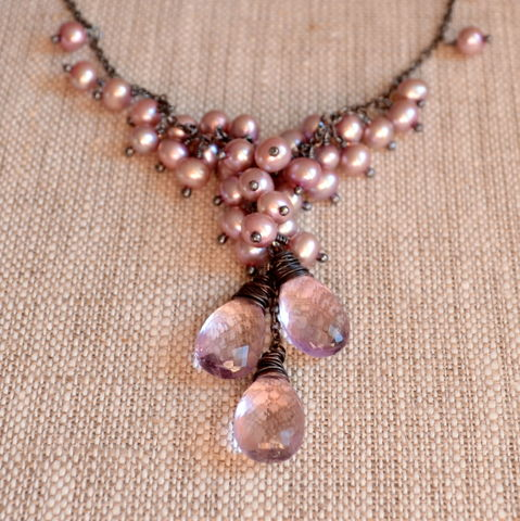Pearl,Cluster,Necklace,with,Pink,Amethyst,in,Oxidized,Silver,pearl necklace, lavender pearl, pink amethyst, gemstone necklace, gemstone jewelry, oxidized silver