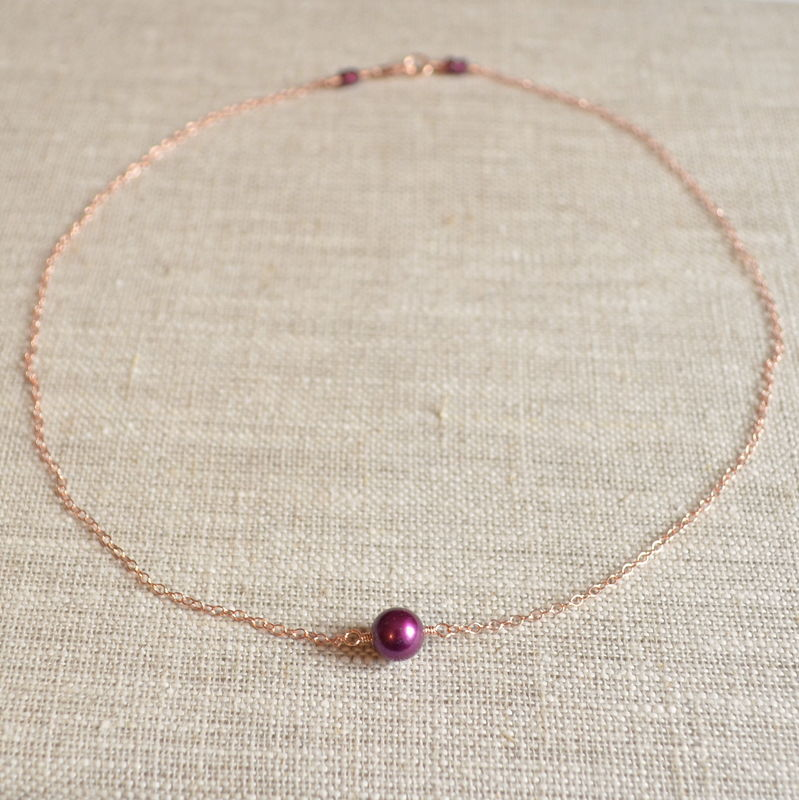 Wine Pearl Choker Necklace in Rose Gold - product images  of
