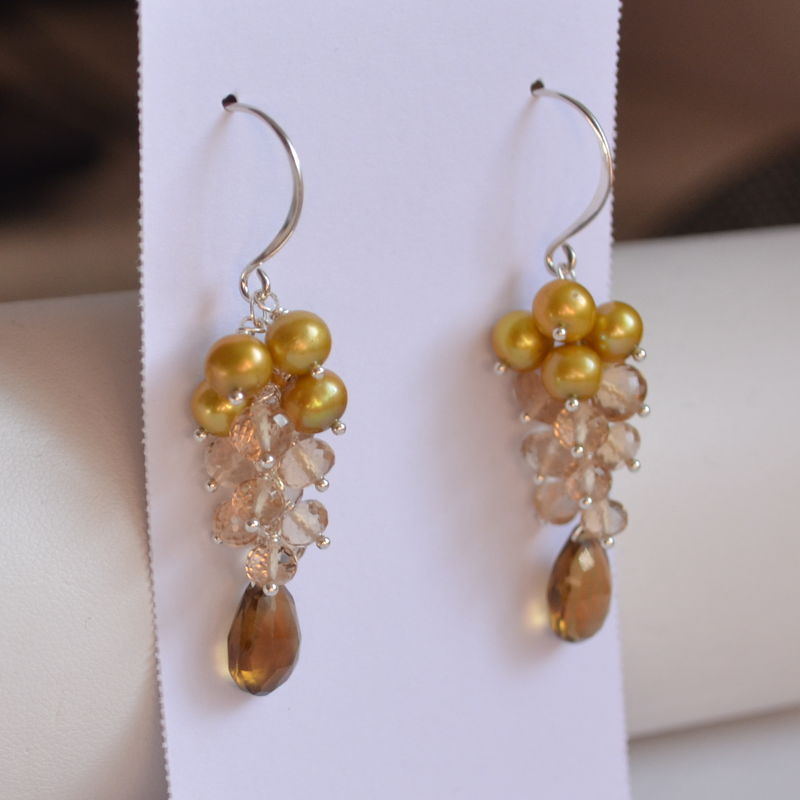 Gold Pearl and Gemstone Cluster Earrings in Sterling Silver - product images  of