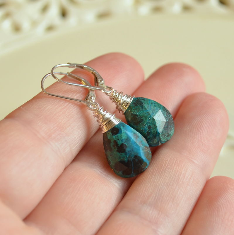 Chrysocolla Drop Earrings in Sterling Silver - product images  of