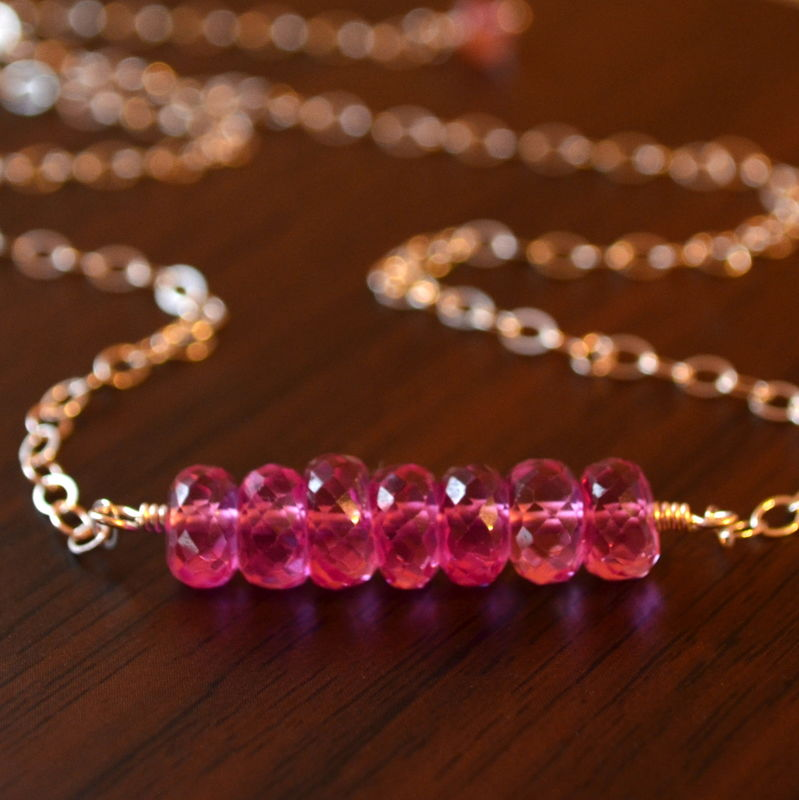 Pink Topaz Choker Necklace in Sterling Silver - product images  of
