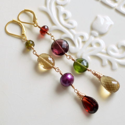 Mismatched,Earrings,in,Red,Plum,Honey,and,Olive,Green,mismatched earrings, long earrings, gemstone earrings, dangle earrings, gold earrings