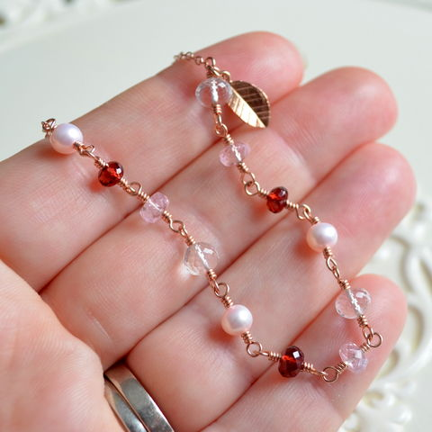 Valentine's,Day,Necklace,with,Garnet,Morganite,and,Crystal,Quartz,in,Rose,Gold,rose gold necklace, rose gold jewelry, morganite necklace, garnet necklace, Valentine's Day