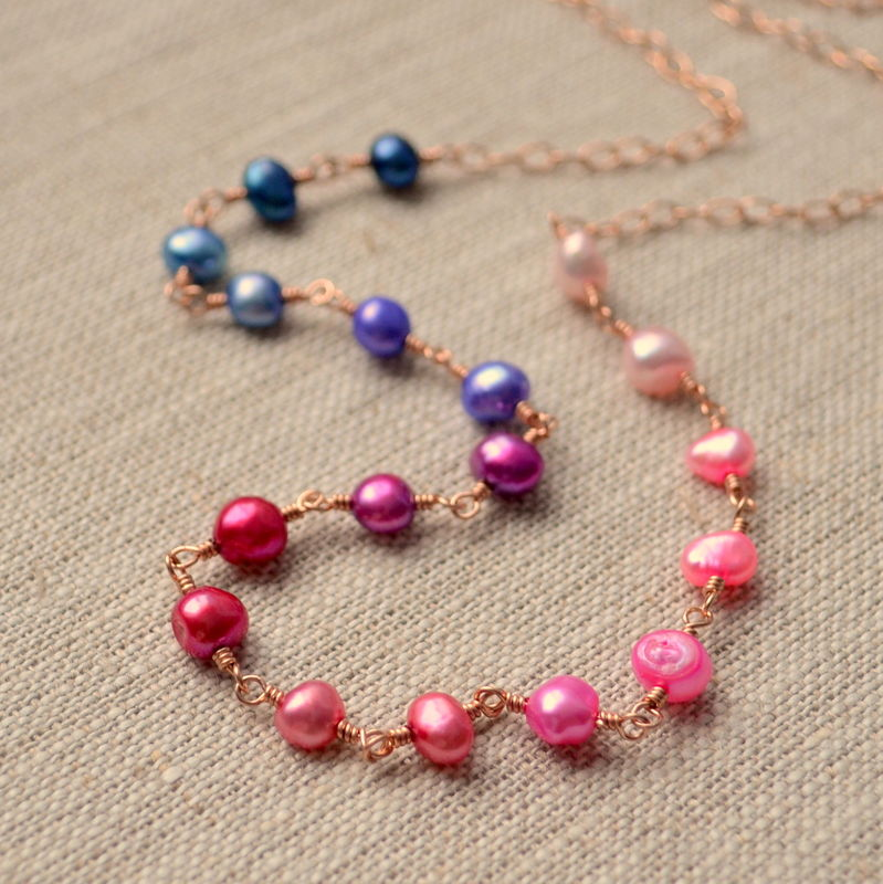 Colourful Freshwater Pearl Necklace in Rose Gold - product images  of