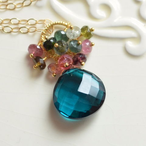 Teal,Necklace,with,Quartz,and,Tourmaline,in,Gold,gemstone necklace, teal jewelry, quartz necklace, tourmaline necklace, gold jewelry