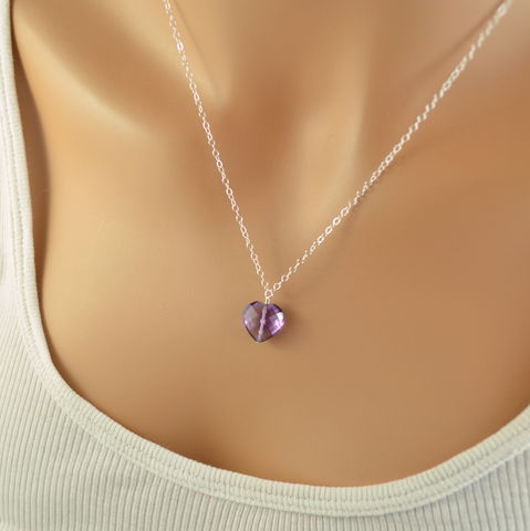 Heart,Shaped,Amethyst,Necklace,in,Sterling,Silver,amethyst necklace, amethyst jewelry, heart necklace, real amethyst, birthstone necklace, gemstone necklace