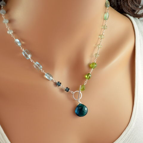 Blue,and,Green,Toggle,Necklace,with,Pearls,Gemstones,in,Sterling,Silver,gemstone necklace, toggle necklace, sterling silver jewelry, blue topaz necklace