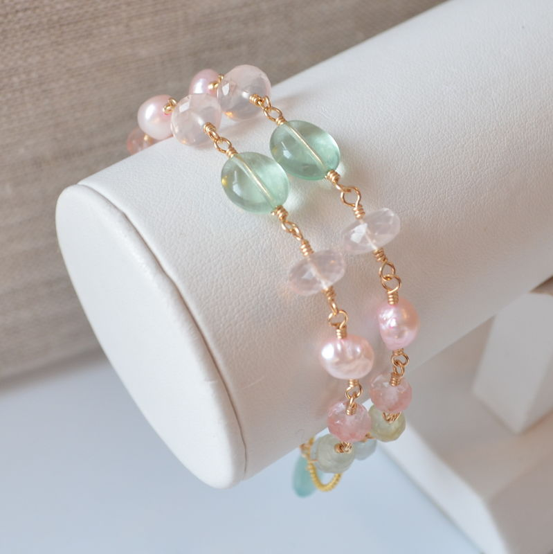 Pearl and Gemstone Pastel Bracelet in Gold - product images  of