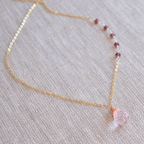 Morganite,Quartz,Necklace,with,Garnets,in,Mixed,Metals,blush pink necklace, mixed metal necklace, gemstone jewelry, garnet jewelry