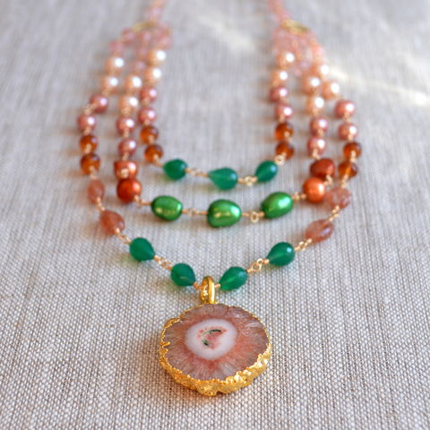 Bib,Necklace,in,Peach,and,Green,,Gold,Filled,gemstone necklace, pearl necklace, agate necklace, multistrand necklace