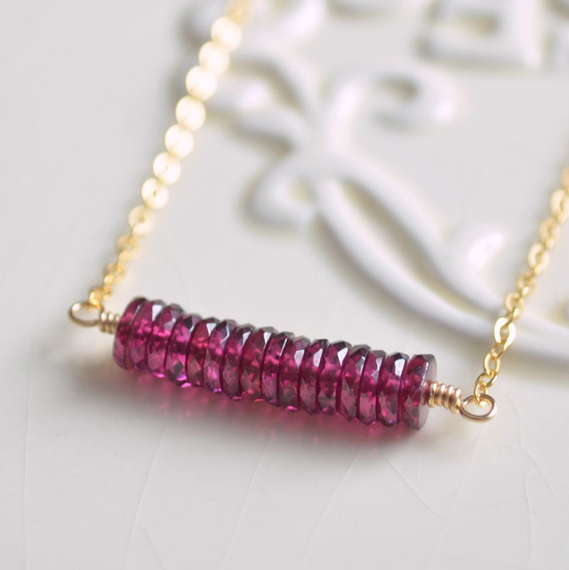 Rhodolite Garnet Row Necklace in Gold - product images  of
