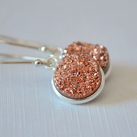 Copper,Druzy,Earrings,in,Sterling,Silver,druzy earrings, druzy jewelry, drusy earrings, silver drop earrings, copper druzy
