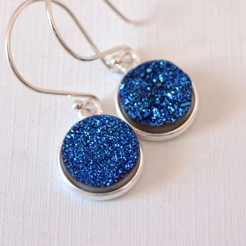 Blue,Druzy,Earrings,in,Sterling,Silver,druzy earrings, druzy jewelry, drusy earrings, silver drop earrings, blue druzy