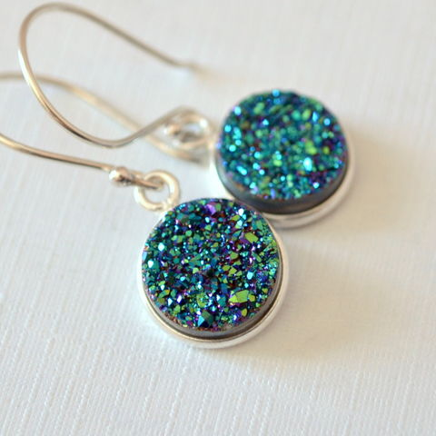 Teal,Druzy,Earrings,in,Sterling,Silver,druzy earrings, druzy jewelry, drusy earrings, silver drop earrings, teal druzy