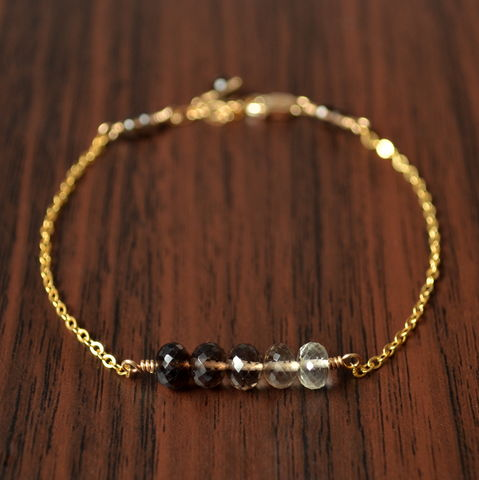 Smoky,Quartz,Row,Bracelet,in,Gold,jewelry, bracelet, smoky quartz, gemstone, brown, ombre, shaded, row bracelet, gold, gold filled