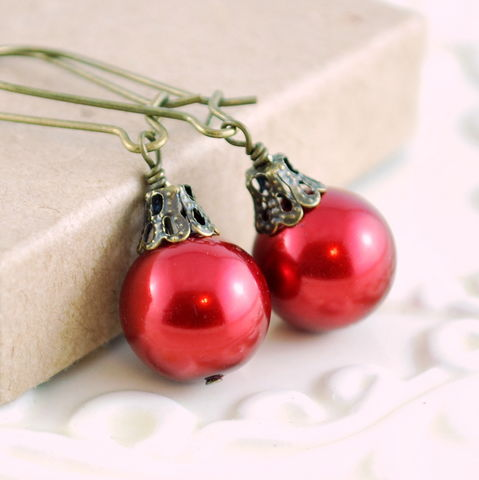 Red,Christmas,Ball,Earrings,in,Antiqued,Brass,jewelry, earrings, glass, pearl, red, Christmas, holiday, fun, whimsical, sterling silver