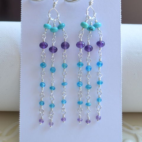 Long,Gemstone,Tassel,Earrings,in,Sterling,Silver,tassel earrings, purple earrings, blue earrings, turquoise earrings, amethyst earrings, long earrings, sterling silver