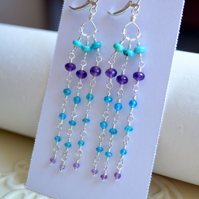 Long Gemstone Tassel Earrings in Sterling Silver - product images  of