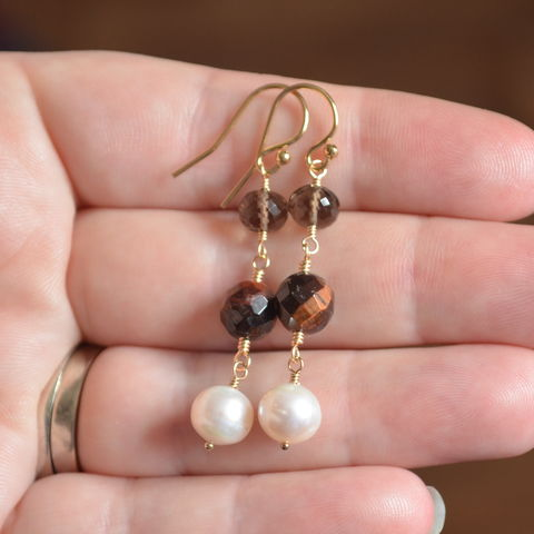 Smoky,Quartz,Earrings,with,Tiger,Eye,and,Pearl,smoky quartz earrings, smoky quartz jewelry, gemstone earrings, tiger eye earrings, pearl earrings, pearl jewelry