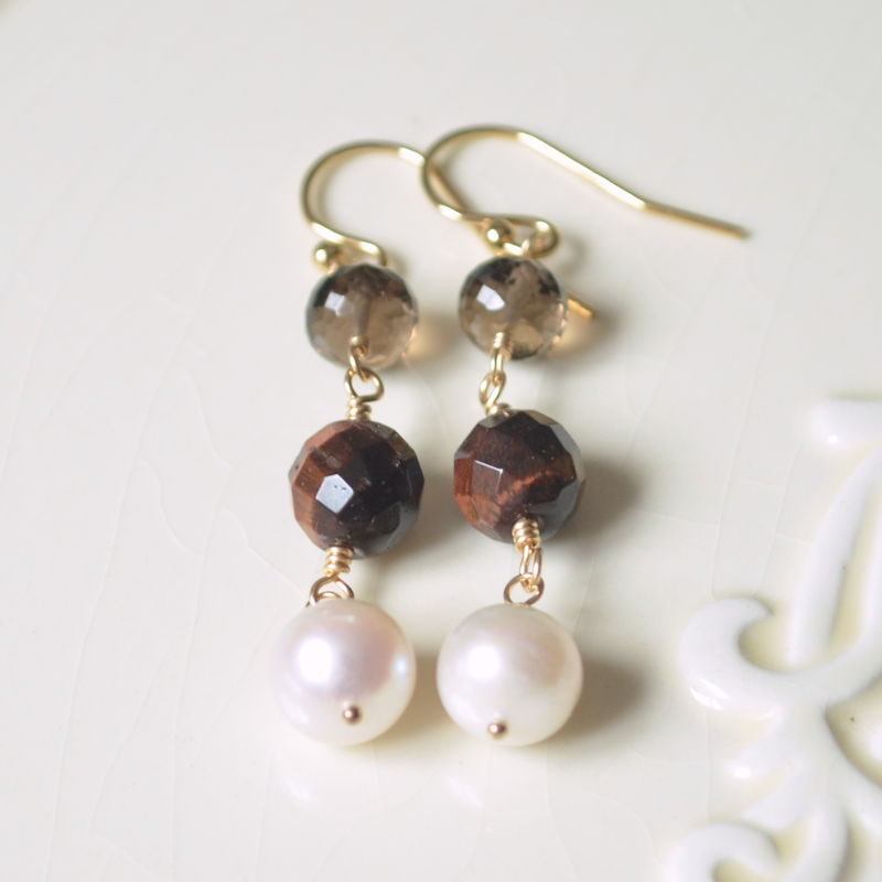 Smoky Quartz Earrings with Tiger Eye and Pearl - product images  of