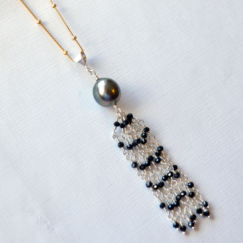 Tassel Necklace with Tahitian Pearl and Black Spinel - product images  of