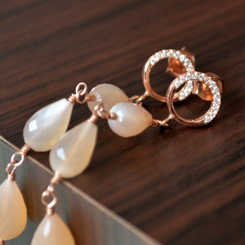 Long,Peach,Moonstone,Earrings,in,Pink,Gold,peach moonstone earrings, peach moonstone jewelry, rose gold earrings, gemstone earrings, rose gold jewelry