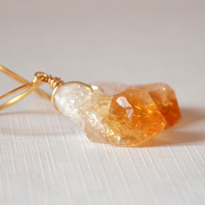 Drop Earrings with Raw Citrine in Gold - product images  of