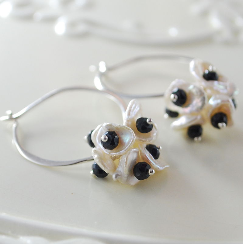 Black and White Pearl Earrings, Hoops, Keishi Pearl and Black Spinel - product images  of