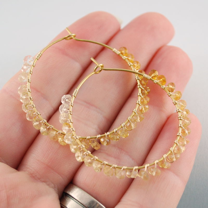 Citrine Hoop Earrings Wrapped in Gemstones and Gold - product images  of