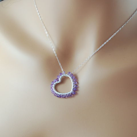 Heart-Shaped,Amethyst,Necklace,in,Sterling,Silver,amethyst, necklace, birthstone, February, purple, semiprecious, heart, love, Valentine's Day, gemstone, sterling silver