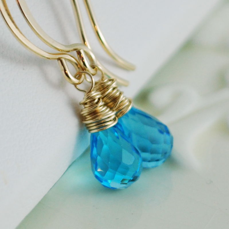 Swiss Blue Topaz Earrings in Gold - product images  of