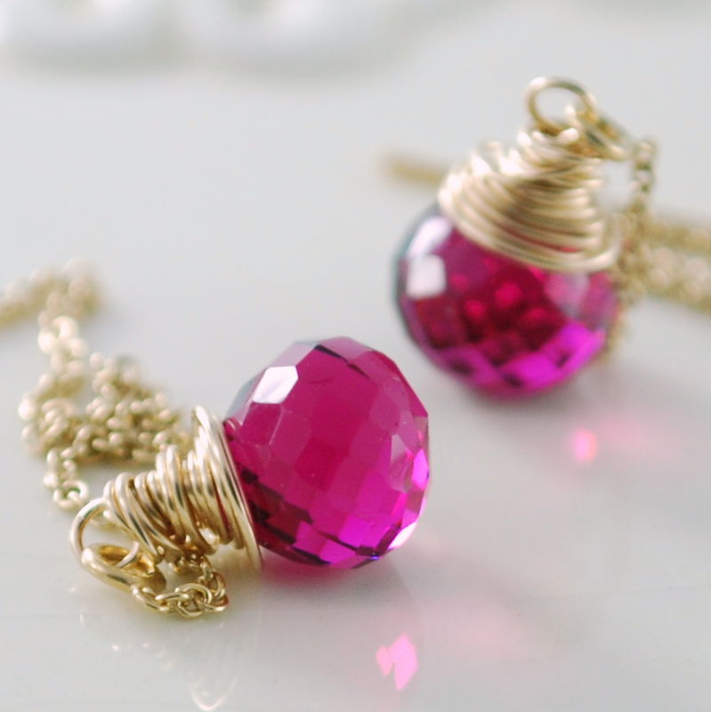 Hot Pink Quartz Threader Earrings in Gold - product images  of