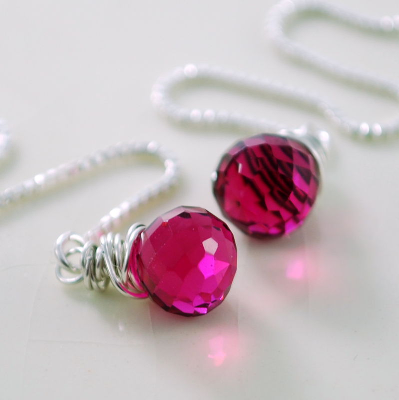 Quartz Threaders, Hot Pink in Sterling Silver - product images  of