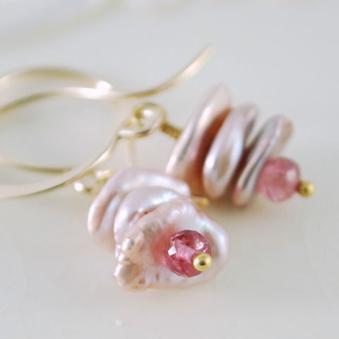 Pink,Keishi,Pearl,Earrings,with,Tourmaline,in,Gold,jewelry, jewellery, handmade, wire wrapped, earrings, keishi pearl, keshi pearl, freshwater, tourmaline, pink, rose, gold, gold filled, gemstone