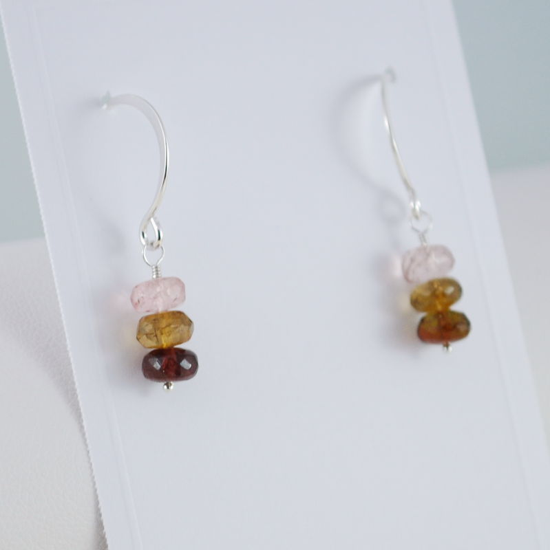 Neapolitan Tourmaline Earrings in Sterling Silver - product images  of
