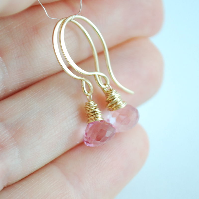 Pink Topaz Earrings Wrapped in Gold - product images  of