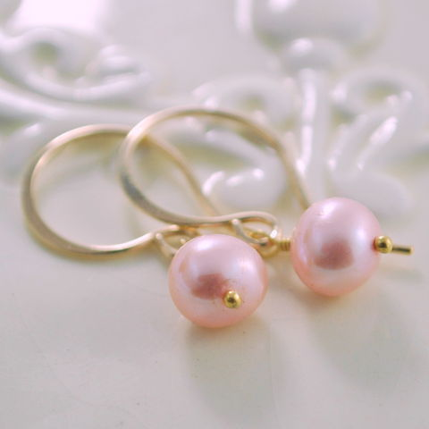 Pink,Freshwater,Pearl,Earrings,Simple,Gold,Jewelry,jewelry, jewellery, handmade, wire wrapped, earrings, gold, gold filled, vermeil, pink, freshwater pearl, genuine, simple, elegant