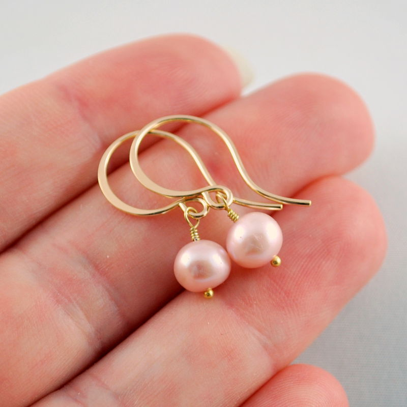 Pink Freshwater Pearl Earrings Simple Gold Jewelry - product images  of