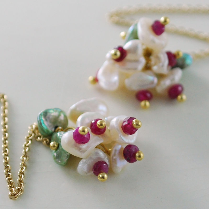 Ruby Earrings Keishi Pearls Gold Jewelry - Christmas Blossoms - product images  of